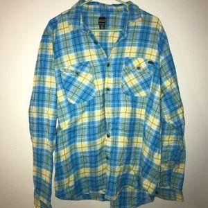 Volcom Regulate Flannel, Blue/Yellow Plaid, XL